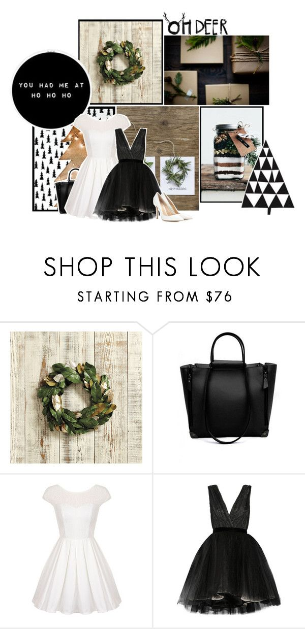 """""""Oh Deer"""" by liz-wade ❤ liked on Polyvore featuring Ballard Designs, Chi Chi, Alice + Olivia, Gianvito Rossi, modern, Winter, Christmas, blackandwhite and Minimalist"""