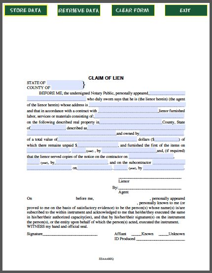 Claim of Lien Certificate
