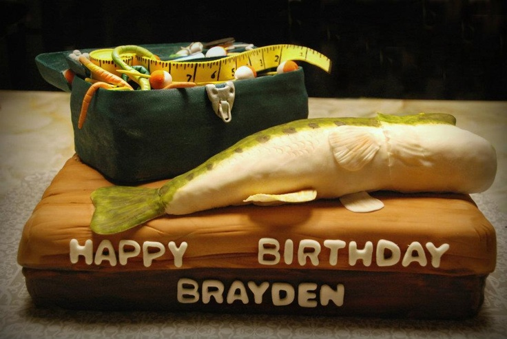 19 best josh cake images on pinterest fishing cakes for Bass fishing tackle box
