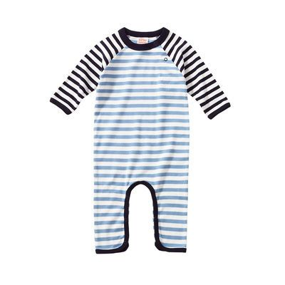 giggle Better Basics Long Sleeve Striped Footless Romper (Organic Cotton)