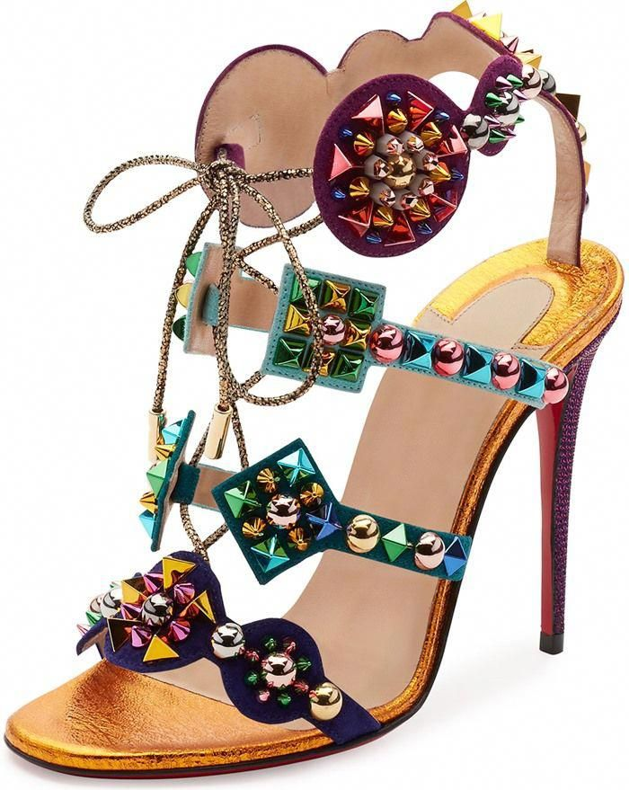 fa0ddca6b963 Christian Louboutin  Kaleikita  Spiked Lace-Up 100mm Red Sole Sandals   ChristianLouboutin