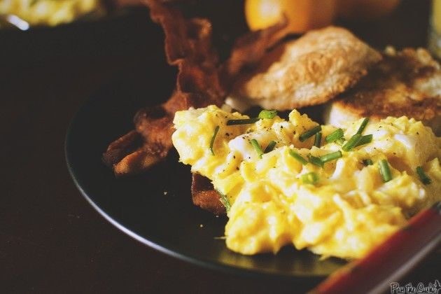 Perfectly Fluffy Scrambled Eggs with Bacon Fat Fried Biscuits | girl carnivore