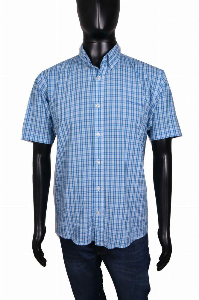 Pierre Cardin Mens Blue Short Sleeve Shirt Casual Lightweight Cotton Pattern