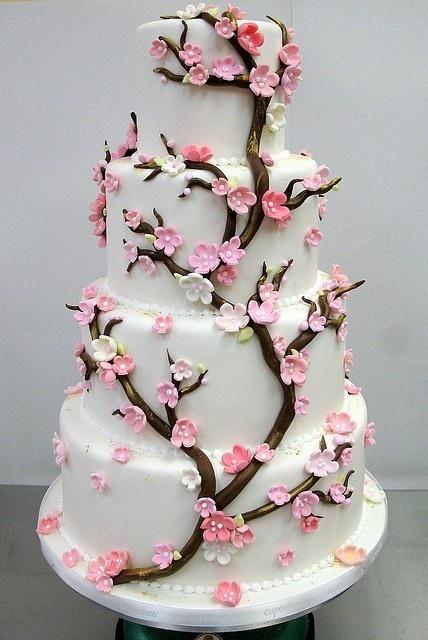 gorgeous!Ideas, Spring Wedding, Cherries Blossoms Cake, Wedding Cakes, Beautiful Cake, Cherries Blossoms Wedding, Birthday Cake, Weddingcake, Cherry Blossoms