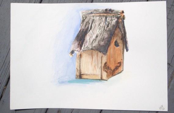 Bird House Watercolor Study