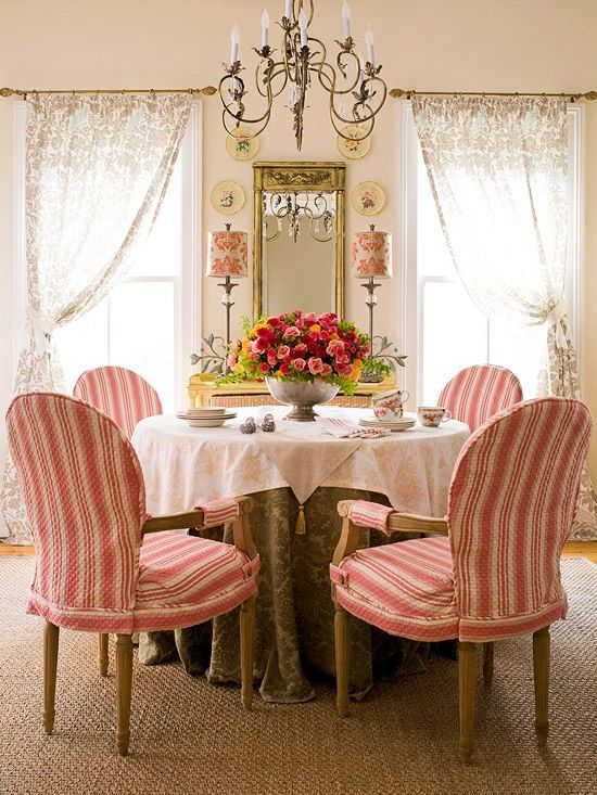975 best images about decorating with red on pinterest for Pink dining room ideas