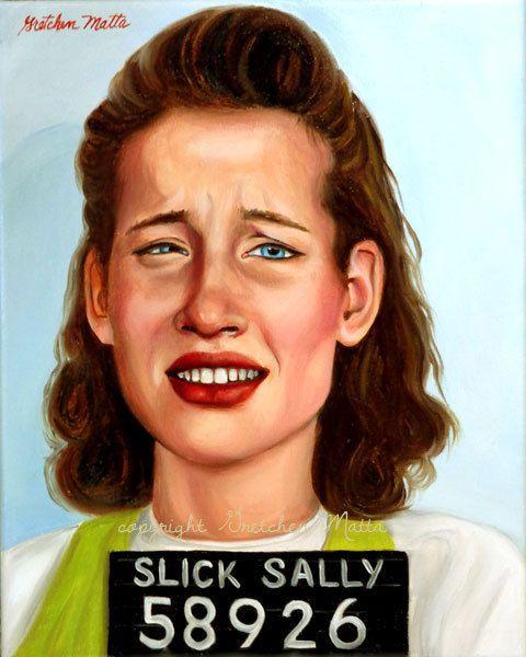 Slick Sally  Original Portrait Oil Painting by GretchenMattaStudio