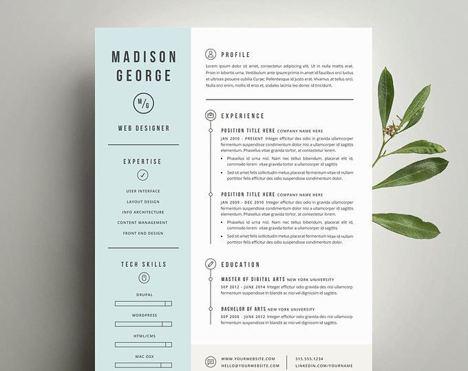Modern Resume Template and Cover Letter Template for Word | DIY Printable 3 Pack | Professional and Creative Design