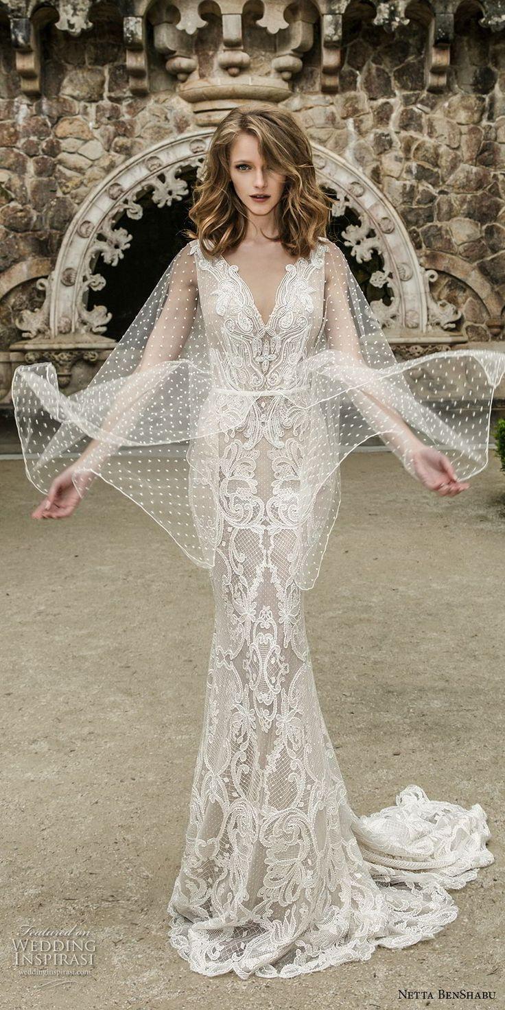 netta benshabu 2017 bridal long angle sleeves neck full embellishment elegant sheath wedding dress open v back sweep train (10) mv -- Netta BenShabu 2017 Wedding Dresses