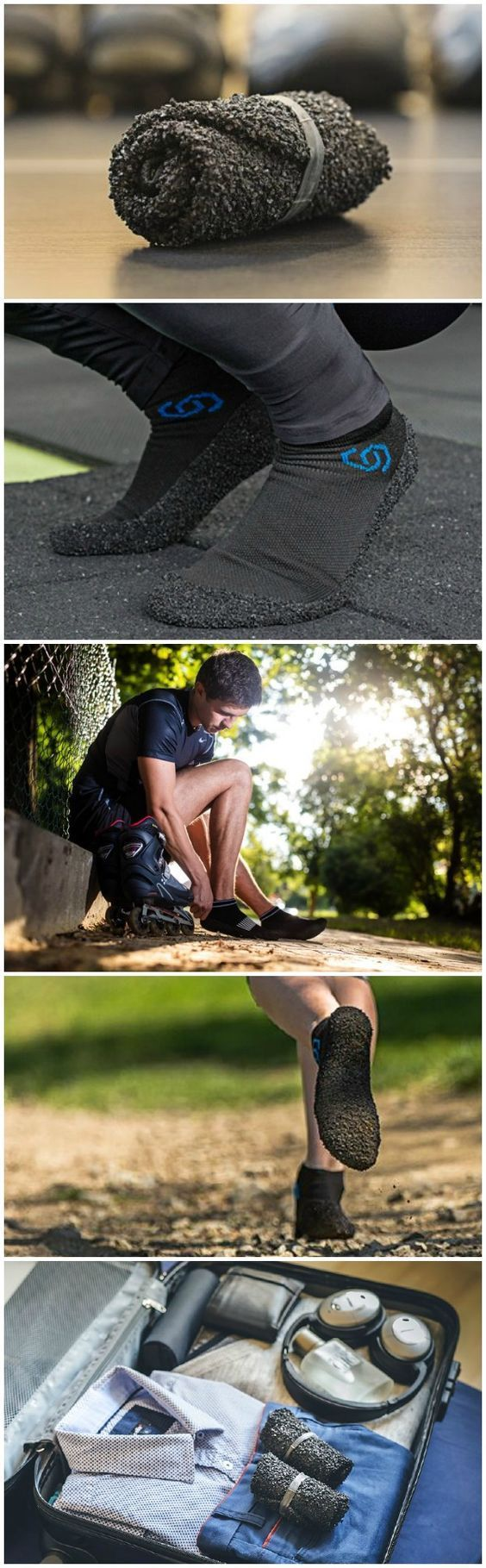 Skinners are the revolutionary ultra-portable footwear that you can roll up like socks but provide protection even from broken glass and durable enough even for a marathon.