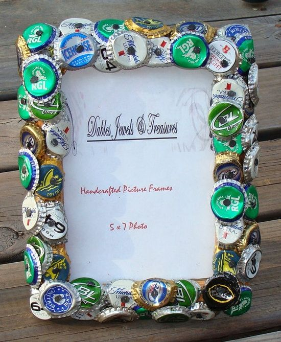 Beer Bottle Cap Picture Frame Handcrafted By Dables On Etsy, $25.00 (ok, If This Can Sell For $25, I'm Totally Selling My Stuff On Etsy!)