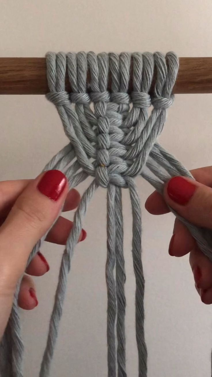 """In this quick tutorial I show you how to make a triangle pattern using #macrame square knot.  Cord used is 4mm cotton cord in """"ice blue"""" from @lamaisondumacrame Check more tutorial on my YouTube channel linked here."""