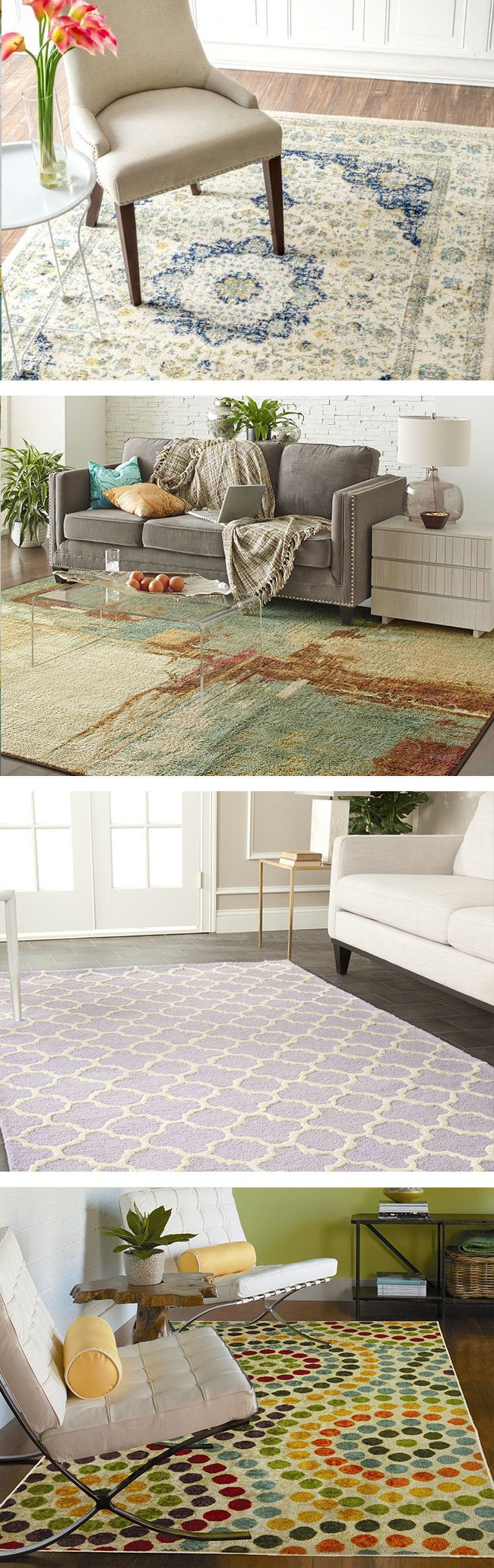 From the entryway to the bedroom, area rugs can complete the look of a room, set the tone, and add an extra layer of comfort—or all three! For a serene bedroom or home office, stick with patterns in shades of beige, blue, or green. Visit Wayfair and sign up today to get access to exclusive deals everyday up to 70% off. Free shipping on all orders over $49.
