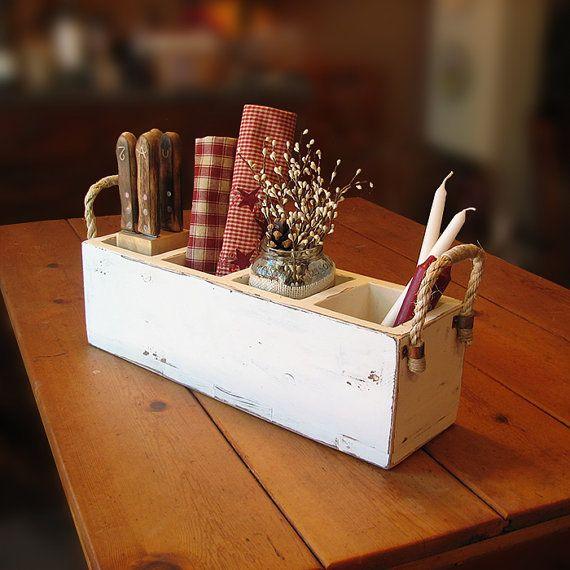 Primitive wooden caddy, rustic utensil holder on Etsy, $42.98 CAD