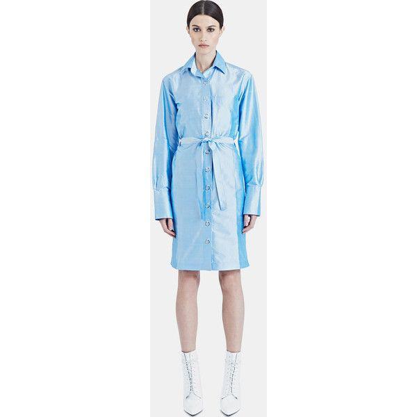 Bobby Kolade Mid-length Silk Shirt Dress (170 CAD) ❤ liked on Polyvore featuring dresses, blue, mid length dresses, blue dress, long shirt dress, silk shirt dresses and silk dress