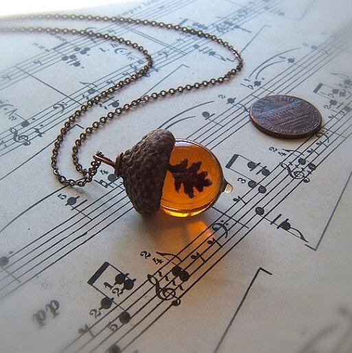 Glass Acorn Autumn Necklace - Topaz with Encased Copper Oak Leaf by Bullseyebeads by bullseyebeads on Etsy https://www.etsy.com/listing/85760930/glass-acorn-autumn-necklace-topaz-with