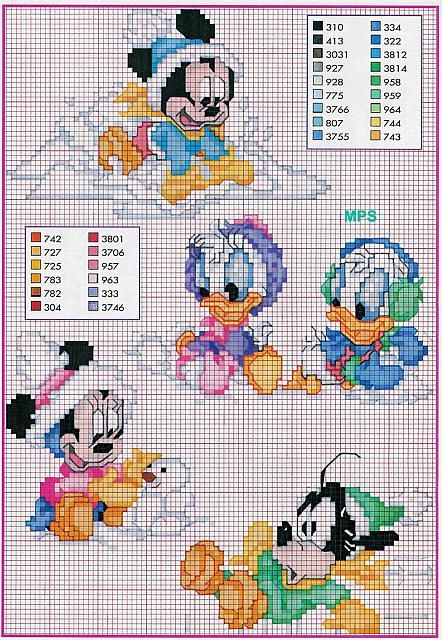 Baby Disney cross stitch winter hats scarves