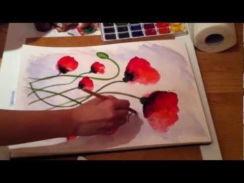 Abstract Acrylic Paintings of Poppies Floral Flower Art Abstrakte Acrylbilder Mohn Blumen - YouTube