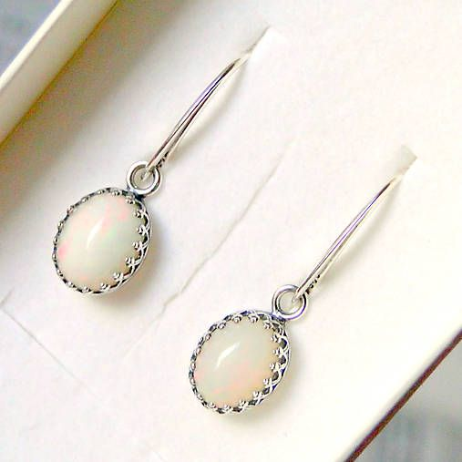 Natural Milky Welo Opal Earrings Silver ag 925 / Strieborné náušnice s pravými opálmi