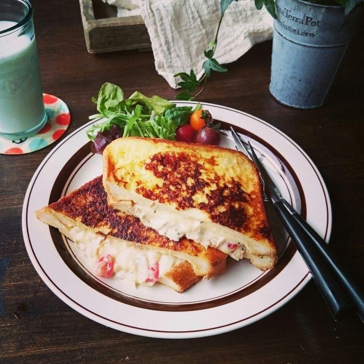 おはようございます❤さっそくですが今日の朝食~流行りの?ツナメルトとモンティクリストをドッキング(*´艸`)♪ツナメルトはアメリカのツナ入りホットサンド、モン…