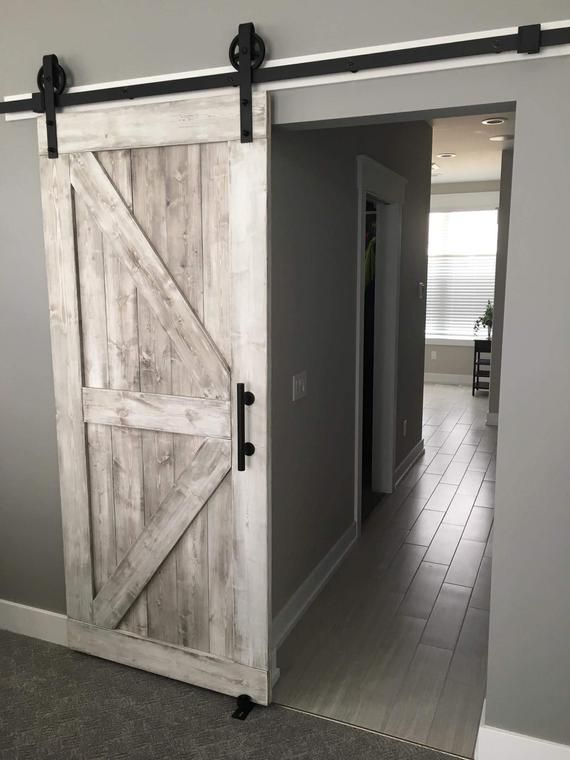 Free Shipping Framed British Brace Style Rustic Sliding Barn Door 84 X36 X1 5 Distressed White Bedroom Door Decorations Diy Barn Door Rustic House