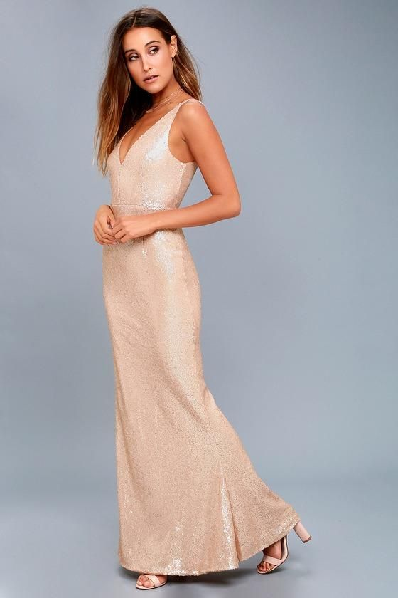 48a2a872 #Valentines #AdoreWe #Lulus - #Lulus Here to Wow Matte Rose Gold Sequin  Maxi Dress - Lulus - AdoreWe.com