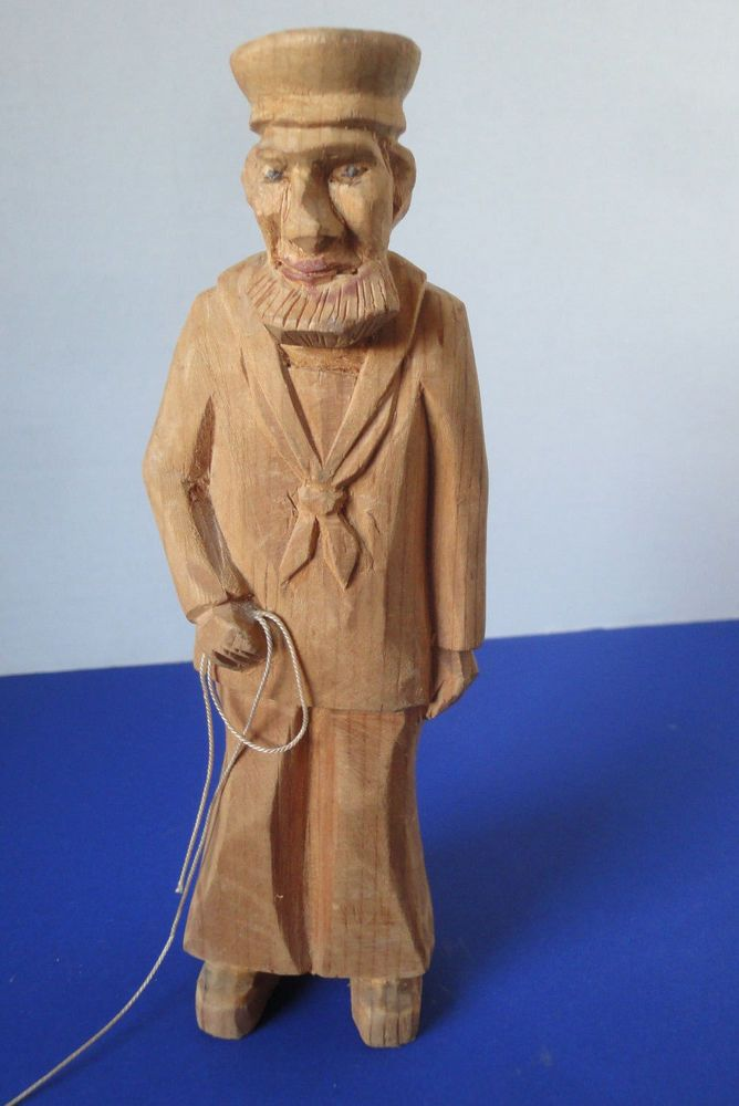 "Folk Art Wood Carving Vintge Bearded Maritime Saillor 8""High"