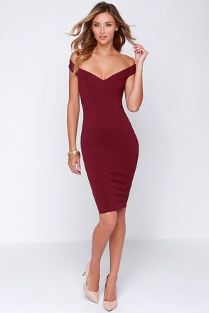 """LuLu*s Exclusive! If you've got a special occasion that needs that X-tra boost of style, wear the X Marks the Spot Burgundy Midi Dress! This stylish burgundy dress has a single off-the-shoulder strap that elegantly frames the neck as it travels down the seamed bodice to craft a unique X pattern. Below the off-the-shoulder strap, a wide band crosses the open back for the perfect finishing touch to the bodice. Midi-length skirt. Bodice is lined. Model is  5'9"""" and wearing a size X-Small. 66%…"""