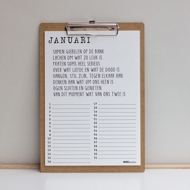 Het hele jaar door Woordkunsten! Met deze verjaardagskalender heb je tevens 12 van de mooiste gedichten in huis. De kalender bestaat uit 6 stevige A4 posters, dubbelzijdig bedrukt. Doe de juiste maand voorop en zet ze vast op het klembord dat je erbij krijgt. Het klembord is ook op te hangen aan een uitschuifbaar oogje! …