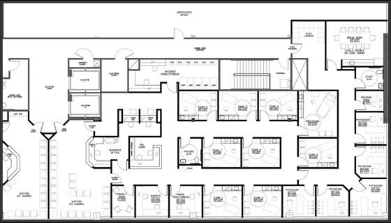 Sample 5 physician floor plan at medical pavilion south for Two story office building plans