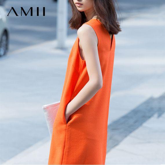 AMII [미니멀리즘] 2017 여름 새로운 패션 스타일의 느슨한 민소매 쉬폰 A 라인 드레스 여성의 뇌