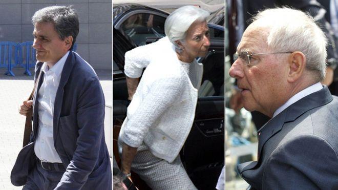 Left to right: Greek Finance Minister Euclid Tsakalotos, IMF head Christine Lagarde, and German Finance Minister Wolfgang Schaeuble