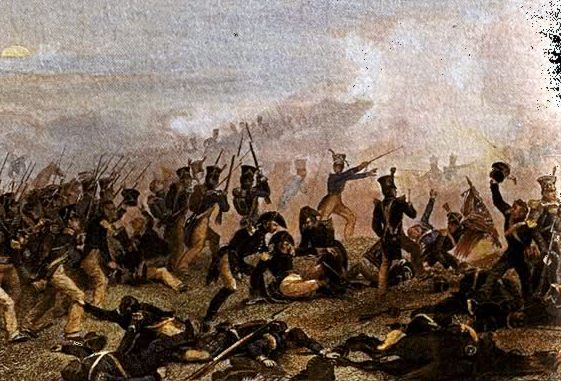 """Illustration: American infantry attack at the Battle of Lundy's Lane, War of 1812, 25 July 1814. Credit: New York State Military Museum; Wikimedia Commons. Read more on the GenealogyBank blog: """"War of 1812 Recruitment Advertisements: What Induced Your Ancestor to Serve?"""" https://blog.genealogybank.com/war-of-1812-recruitment-advertisements-what-induced-your-ancestor-to-serve.html"""
