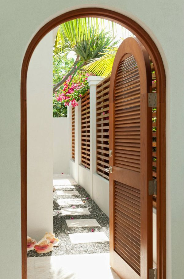 Tropical beach house entrance on Turks and Caicos Islands