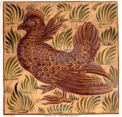 Guinea Fowl tile design, by William De Morgan (1839-1917). Watercolour. England, 19th century.