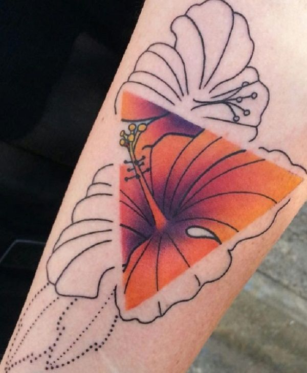 Floral themed Triangle Glyph Tattoo. The triangle symbol is in full color and contrasted towards the rest of the flower's petals which are not colored. This gives a drastic contrast to what is within the triangle and what is located outside.