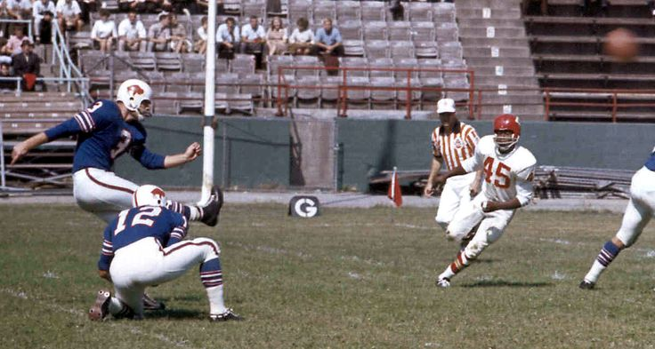 Pete Gogolak of the Buffalo Bills is credited with introducing soccer style placekicking to American football.