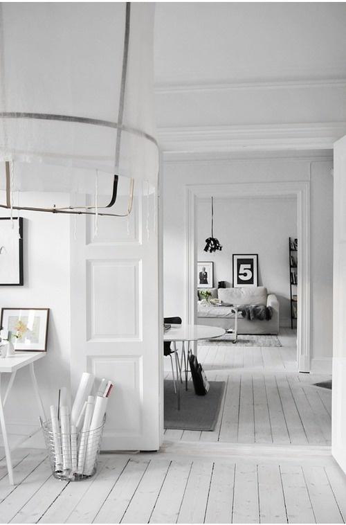 PnS Post: White InteriorsInspiration, White Spaces, Interiors Design, Black White, White Rooms, House, White Floors, White Interiors, Bedrooms Decor