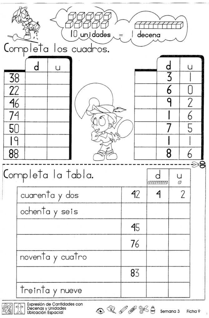 Expresión de cantidades con decenas y unidades ubicación espacial