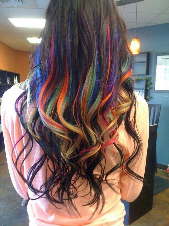 brown hair with rainbow highlights | Rainbow highlights extensions ombre