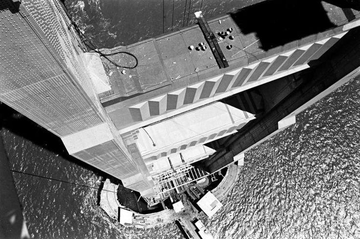 The Golden Gate Bridge under construction, 1936.