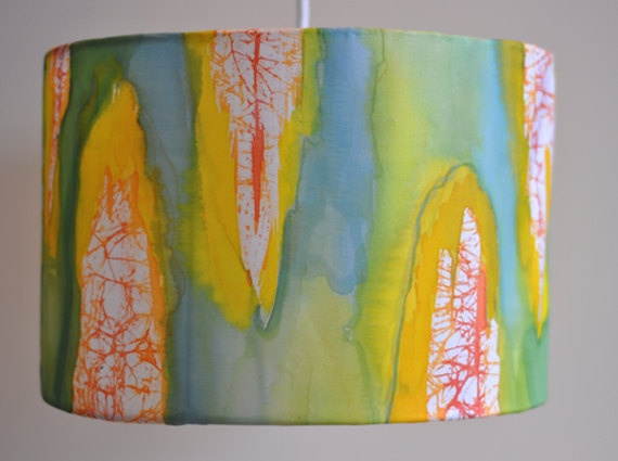 Lamp shade Yellow Green Hand Painted Silk by HaniH on Etsy.