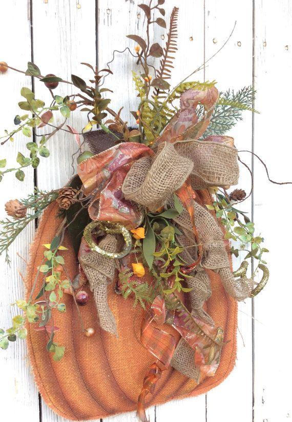 Burlap Pumpkin door hangerFall Door HangerBurlap Pumpkin by Keleas