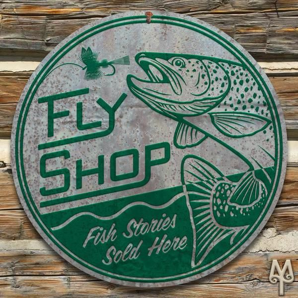 Add this decorative, metal wall sign to your home or cabin; and, show everyone that you love all things fly fishing. A decorative wall sign made using heavy gauge American steel and a process known as sublimation, where the image is baked into a powder coating for a durable and long lasting finish. Designed in Montana. Made in the USA. Made to order. Ships within ten to fifteen business days.