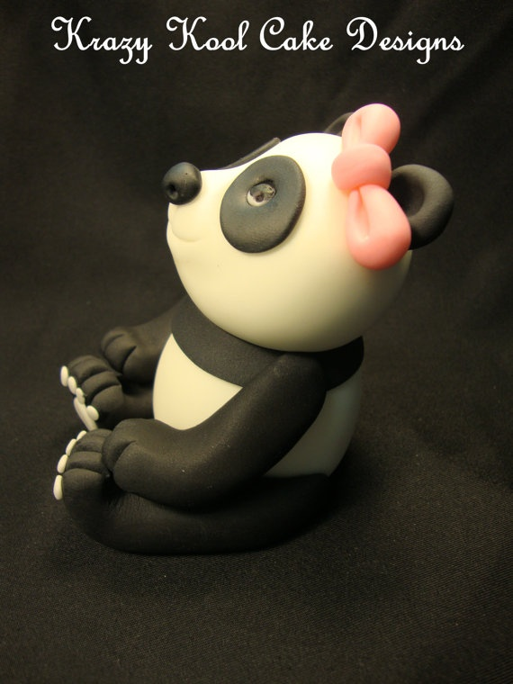 Panda Cake Topper by KrazyKoolCakeDesigns on Etsy