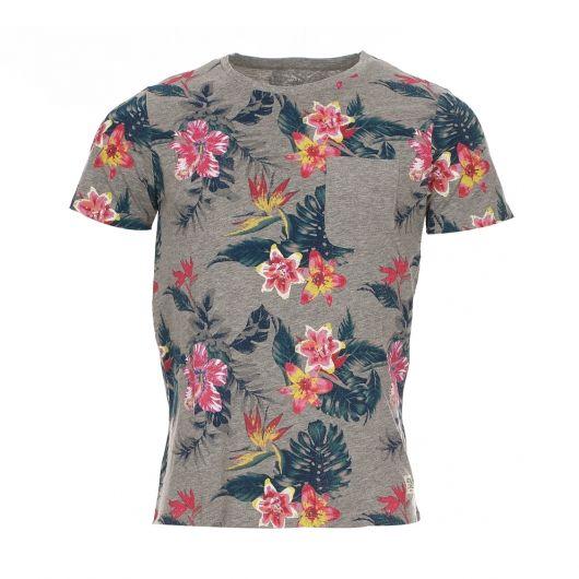 Tee-Shirt col rond Jack&Jones en coton gris clair floqué de motifs à fleurs
