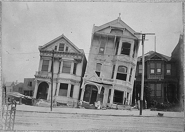 San Francisco earthquake 1906 - Want to be ambitious? You could make the arch reference the earthquake. Victorian architectural elements askew & blackened with soot.