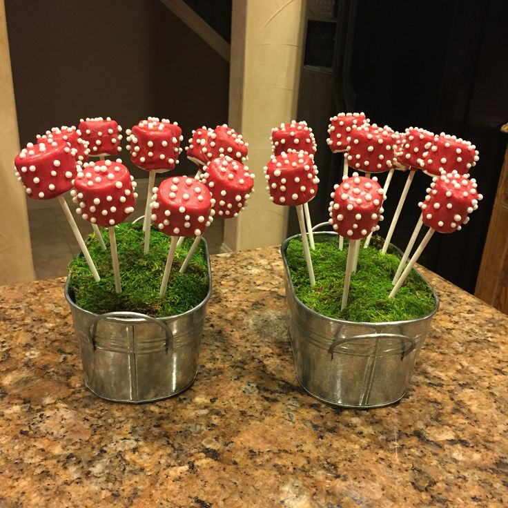 Marshmallow pops, toadstool theme, woodland forest party, fairy theme birthday party.