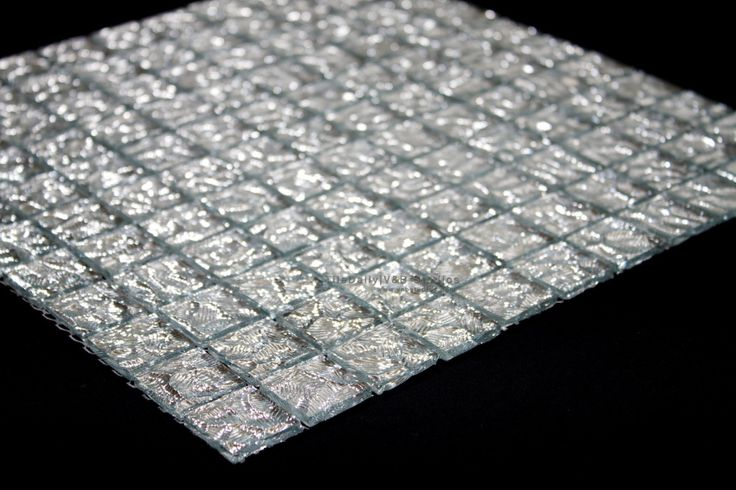 Silver Cracked Ice Glass Mosaic #tile #tile #tiledaily #silver #crackle  #mosaic #wall #border #backsplash #interior #design #glass | Pinterest |  Mosaic wall ...