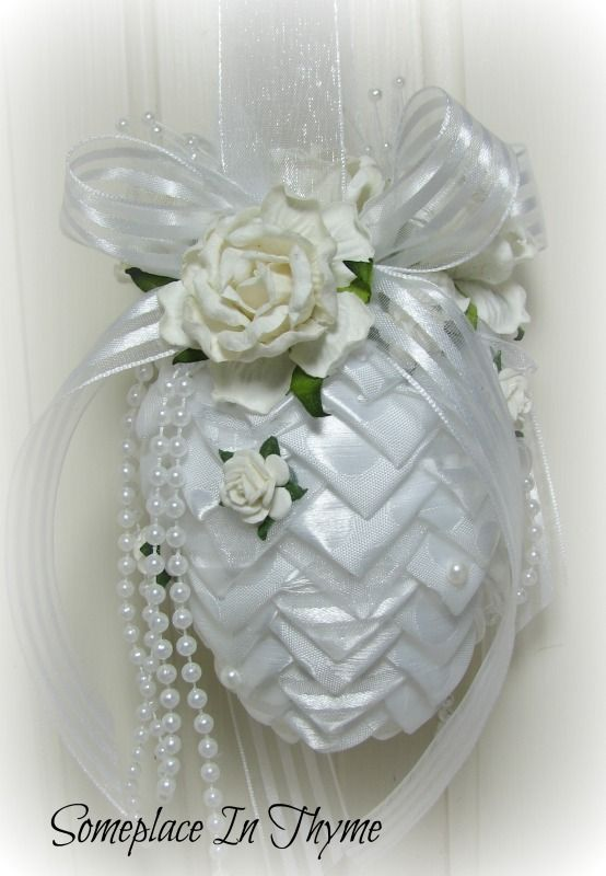 White Pinecone Ornament